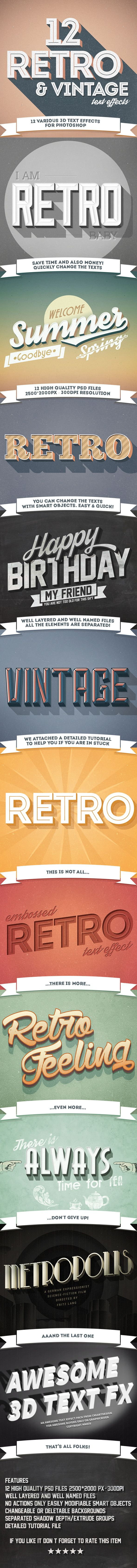 12 Various 3D Retro & Vintage Text Effects Pack - Photoshop Add-ons