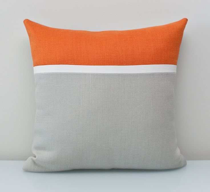 Orange Pillow in 100% Cotton ALL NATURAL Colorblock pillow using environmentally friendly fabrics. An unexpected pop of dramatic reddish orange with neutral accents like linen and grey-result is- Modern and Warm. FREE customization available