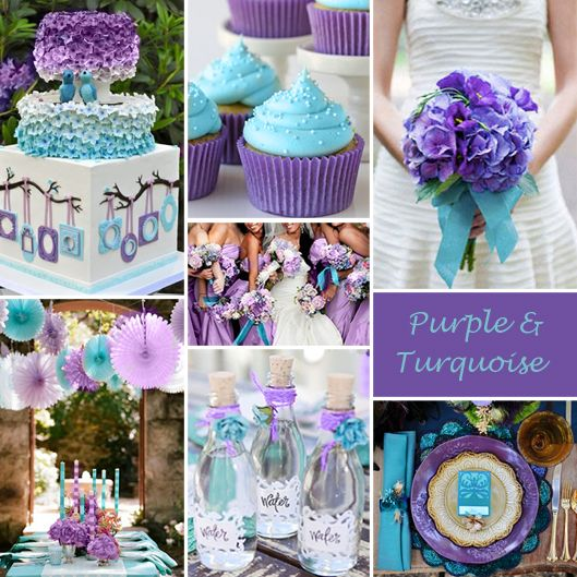 "I kinda love this color combo!! Purple and Turquoise Wedding Colors - Purple and Turquoise is one of those color combinations that makes us want to say ""wow""! It works for weddings all year long but especially in spring and summer."