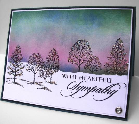 "By lbirus at Splitcoaststampers. Background masked & sponged. Beautiful colors! Uses stamp from Stampin' Up's ""Lovely as a Tree."""