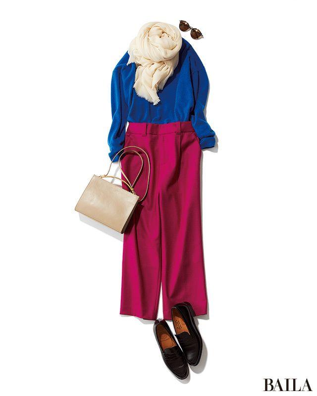 シンプルなニットトップス×きれいめパンツの定番コーデも、ビビッド色を組み合わせれば一気に新鮮に。ブルーニットに暖色を合わせるなら、青みが強いベリーピンクにするのがオススメ。かわいげも底上げされ、パンツルックでも女っぽく。服が派手色なぶん、小物はベーシックカラーで落ち着いたムードを・・・