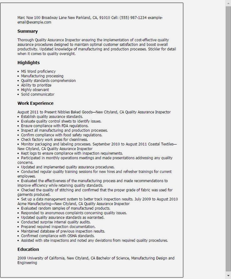 Quality control inspector resume, inspections, safety