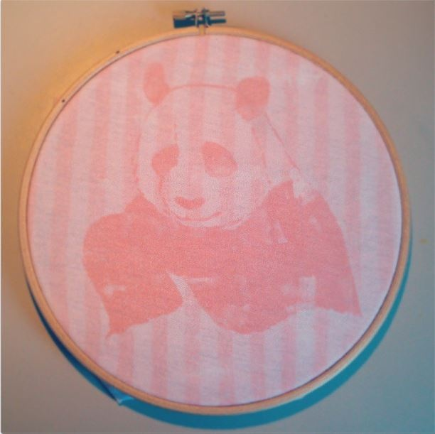 hand-printed fuzzy panda with light-sensitive inks... by halfpomelo design studio (Barcelona)