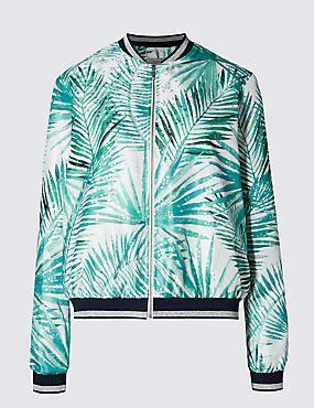 Metallic Effect Palm Print Loose Fit Bomber Jacket