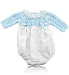 Baby blue and white romper suit