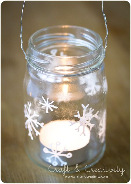 re-purpose a glass jar into a lantern - draw snowflakes with a white Hobby Marker. To make a lantern twist wire around the top and make a loop for hanging.