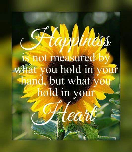 Happiness is not measured by what you hold in your hand, but what you hold in your heart!