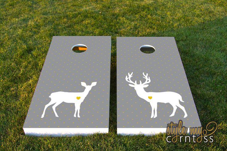 Wedding Cornhole Set  w/ Bags  - Deer Love by stylemycorntoss on Etsy https://www.etsy.com/listing/126904956/wedding-cornhole-set-w-bags-deer-love