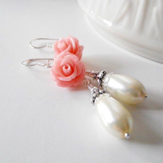 Coral Bridesmaid Jewelry Ivory Pearl Teardrop by FiveLittleGems, $17.00