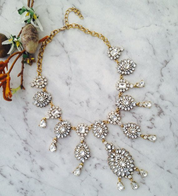 GOLD & CRYSTAL long Necklace by AmoreAndAdore on Etsy