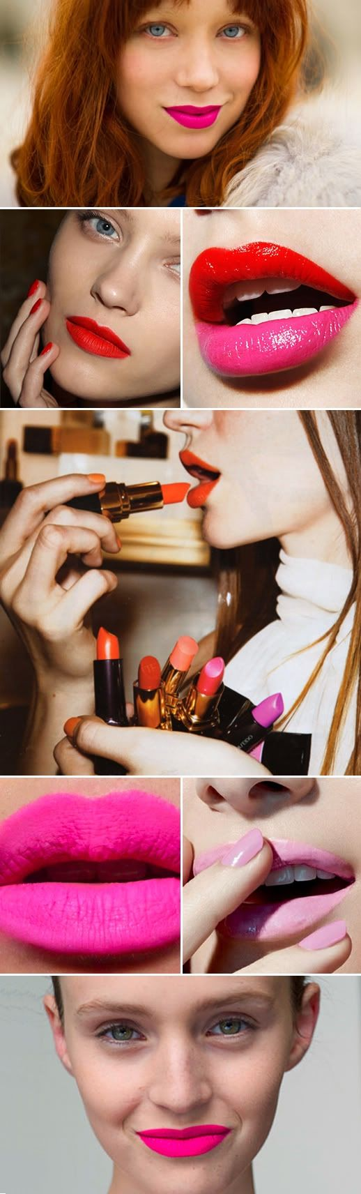SUMMER BRIGHT LIPS LIPSTICK NEON PINK RED TWO TONE BEAUTY INSPIRATION SUMMER MATCHING NAILS MANICURE LE FASHION BLOG