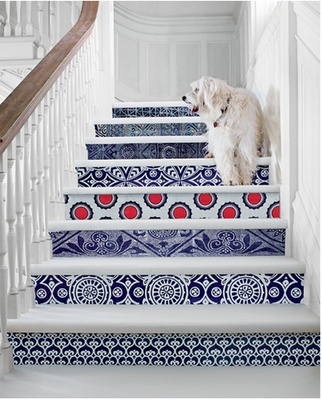 Nice stairs and nice dog