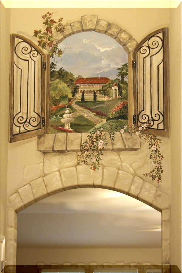 Two Story Foyer Wall Art : Two story foyer window mural murals finishes