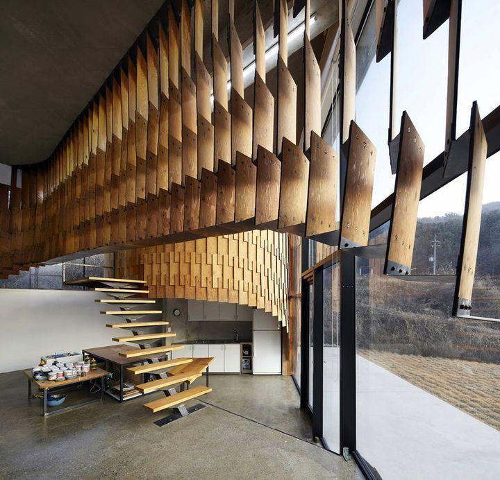 Facade Study Деревянные панели в интерьере дома