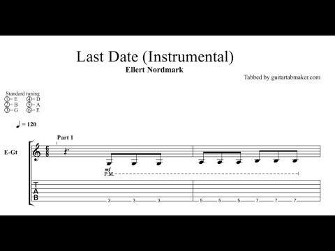 Ellert Nordmark - Last Date instrumental guitar tabs (easy) - pdf guitar sheet music download - guitar pro tab video