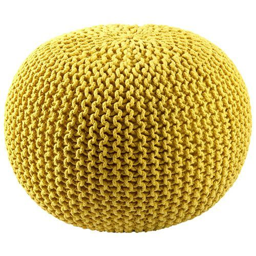 Yellow Cotton Rope Pouf Ottoman