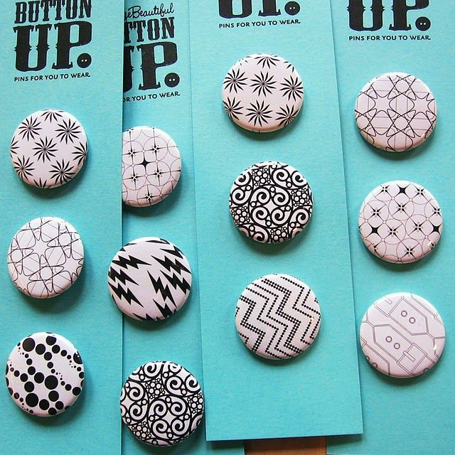 B&W; Button Badges by OrangeBeautiful