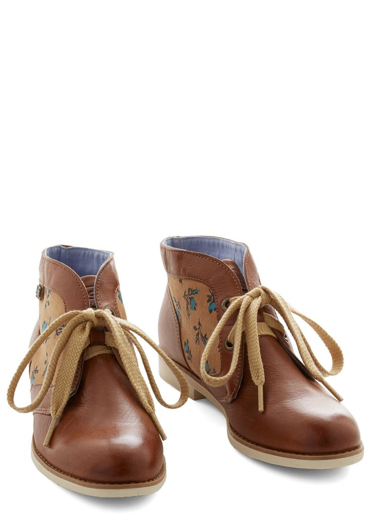 Paint That Something Bootie by Keds - Flat, Faux Leather, Tan, Solid, Floral, Menswear Inspired, Better, Lace Up, Casual, Rustic, Boho