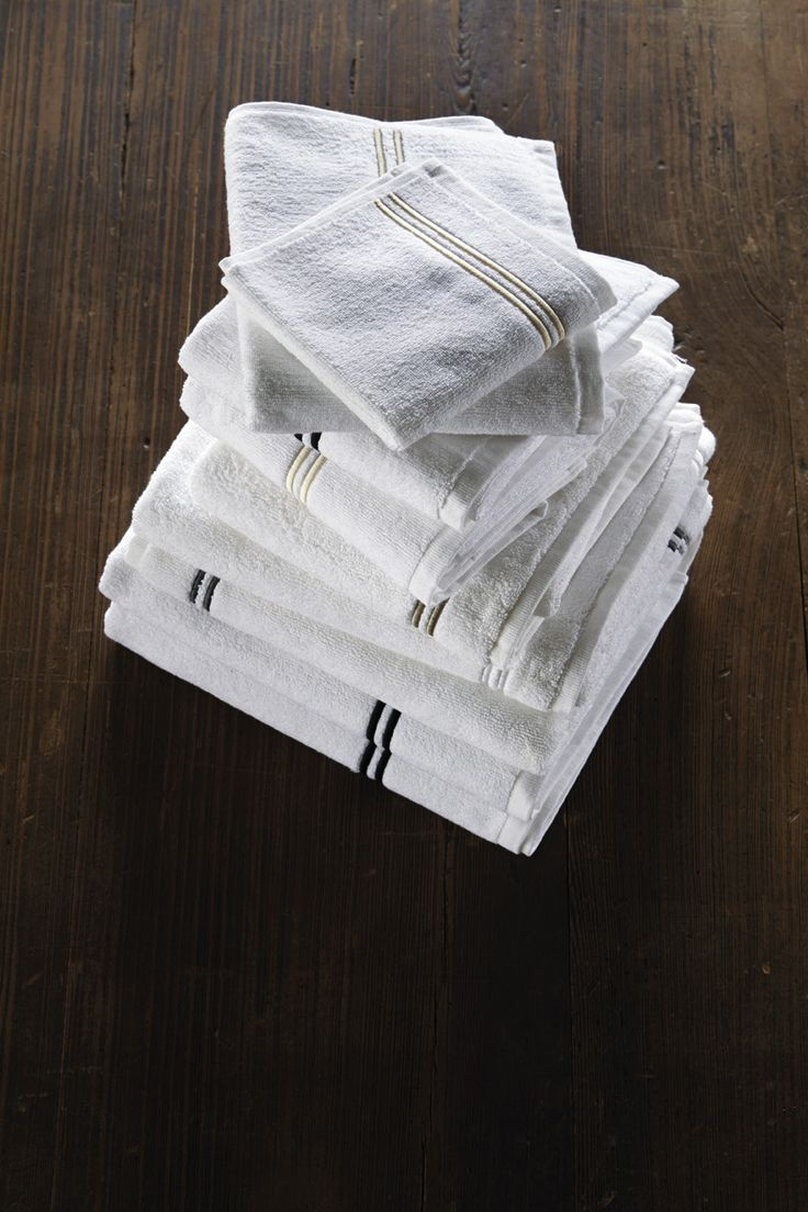 HOTEL CLASSIC-Terry towels with double piping. More than a century old, Frette's Hotel Classic collection is oneof our all-time best-sellers. On super-soft Egyptian cotton terry, robes and towels feature a distinctive two line border. The bathroom line co-ordinates perfectly with the popular bed linens range. www.frette.com