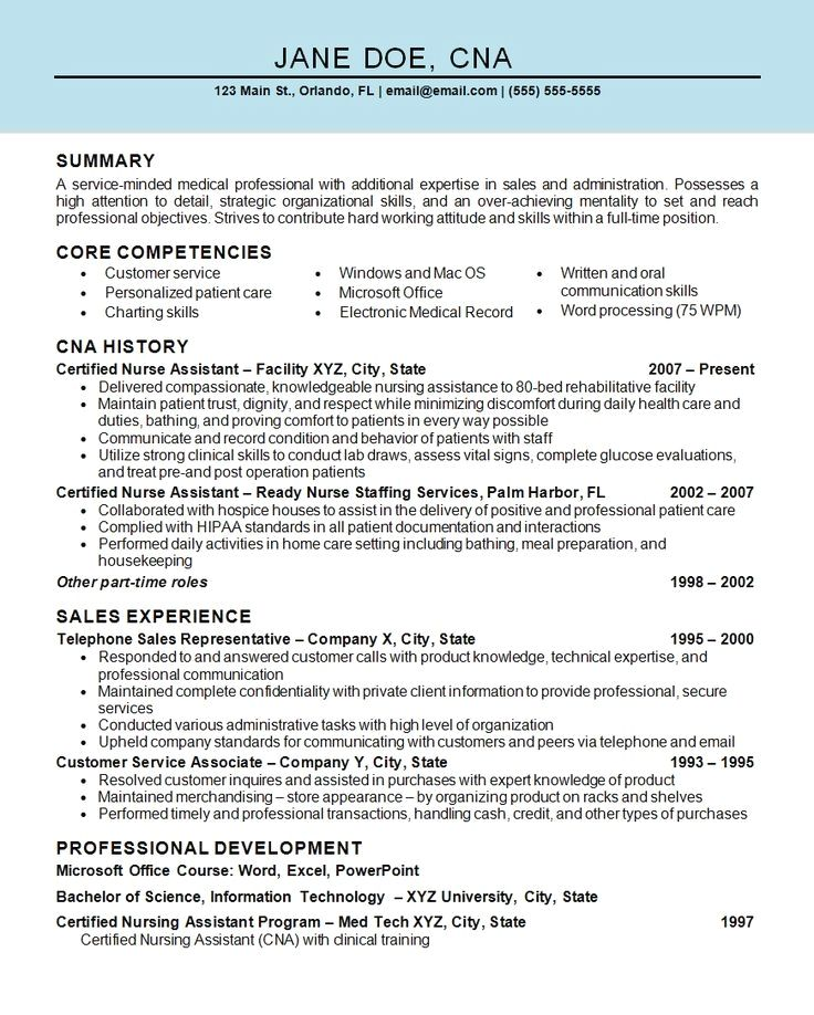 Resume Example Cv Example Professional And Creative Resume Design Cover Letter For Ms Word In 2020 Nursing Assistant Patient Care Assistant Resume Examples