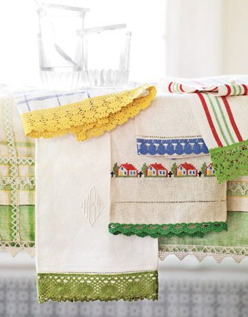 ready-made edging added to vintage-style towels. Great gifts!