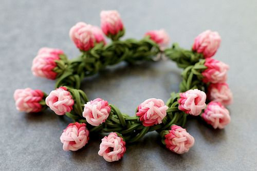 Rose-Bud-Bracelet by YarnJourney, via Flickr.  Click the image and she gives a link to her YouTube channel.