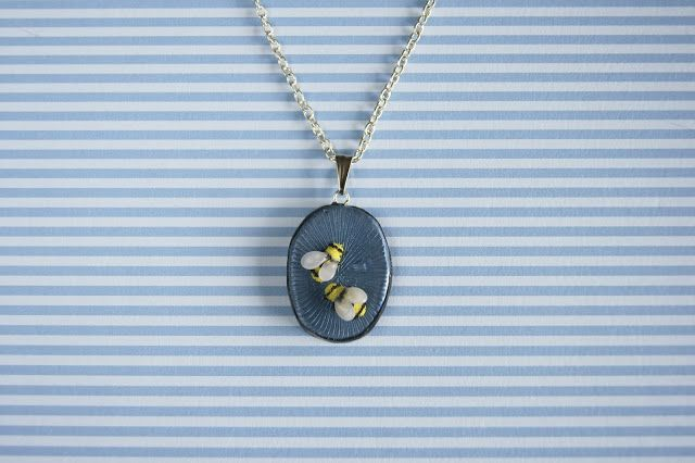 polymer clay bees nacklace