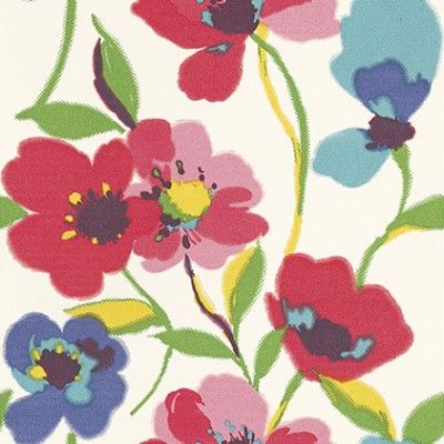 Wild Flowers (128027) - Esta Home Wallpapers - A bold stylised floral design with bright red and pink and blue flowers with green stems. Please request a sample for a true colour match.