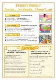 English worksheet: Present perfect with just yet already and ever(2 pages)