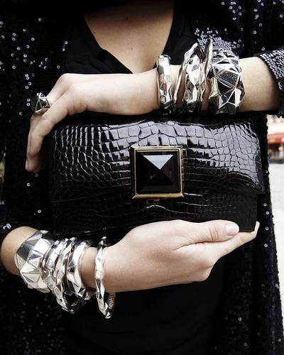 Jeanette the bag and the bracelets.. silver all the way