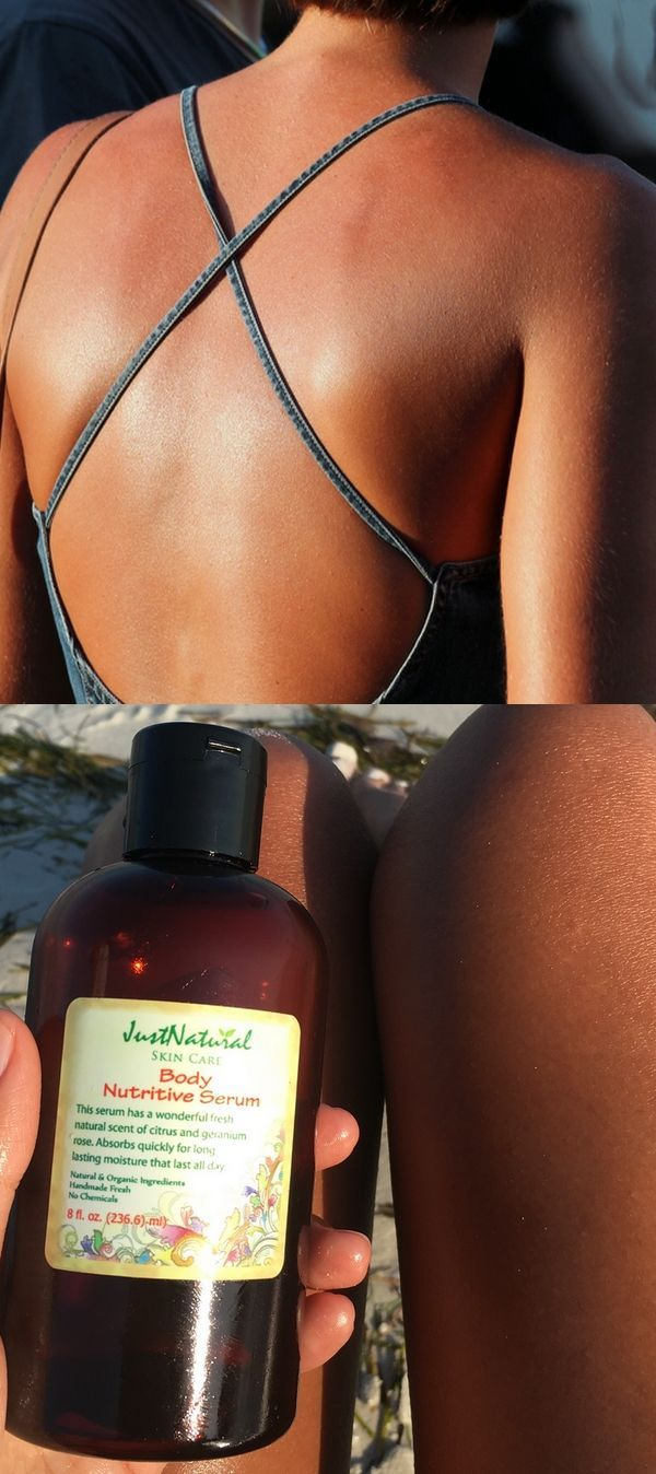 I can't say how beautiful my skin looks and feels! Amazing! This summer I used this as my tanning oil and I had a beautiful, brown tan on the first day!! This serum is amazing! Not only do I tan faster, I love how it makes my skin feel and it smells so good.  Body Nutritive Serum at http://www.justnaturalskincare.com/skin-tanning-skin-helpers/body-nutritive-skin-tanning-serum.html