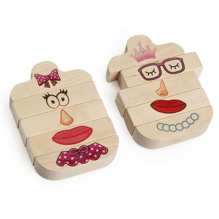 Houten blokkenspel, gezicht, leuk ontwerp, katoenen zak