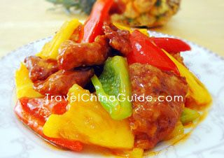 Chinese name: 菠萝咕咾肉 (bō luó gū lǎo ròu) Sweet and Sour Pork with Pineapple_  Style: Guangdong Cuisine