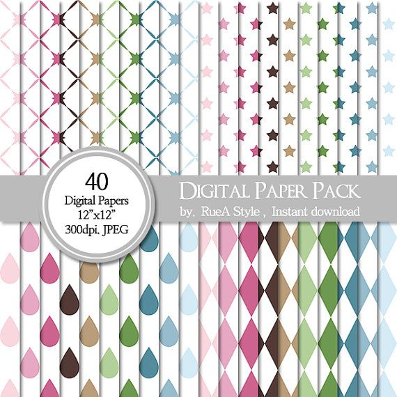 SALE 40 Digital Paper Pack Dot raindrop Scrapbooking by rueastyle