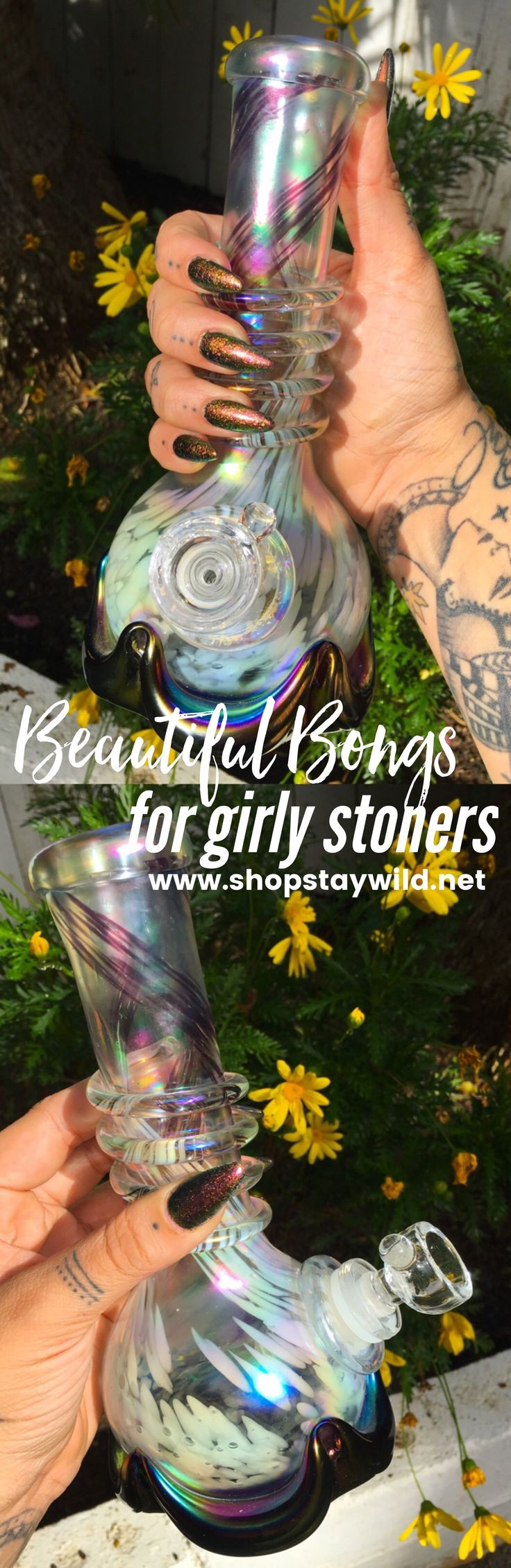Girly, feminine bongs, water pipes and bubblers for women at www.shopstaywild.net women love weed too! Beautiful cannabis accessories like grinders, stash jars, rolling papers, bubblers and hemp body-care made just for girly girls that enjoy marijuana.
