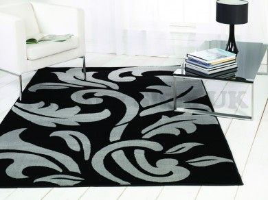 Sincerity Modern Script Black/Silver Floral Rug By Flair Rugs 1