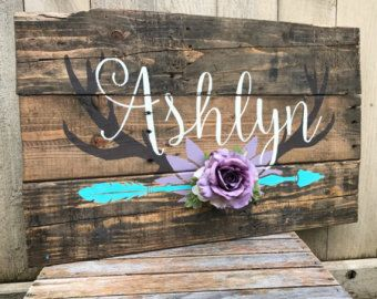 Rustic Large Nursery Baby Name Arrow and Antlers personalized