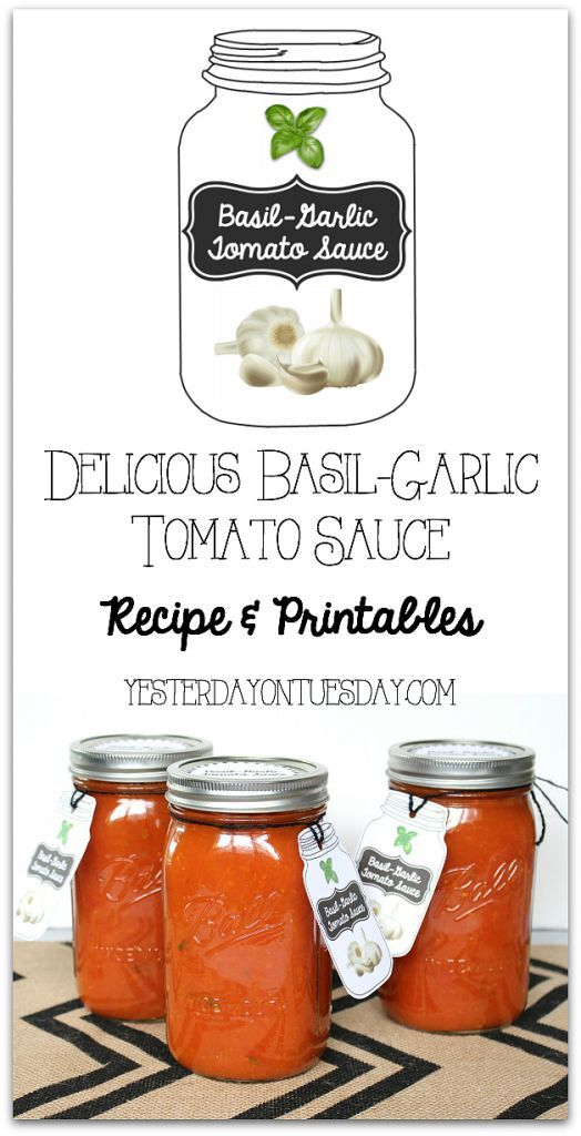Delicious Basil-Garlic Tomato Sauce Recipe and canning tips, as well as free printable tags and labels! #canitforward #spon