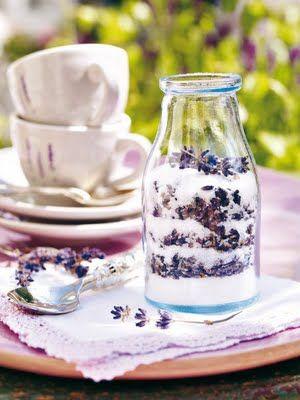 Layered lavender sugar.