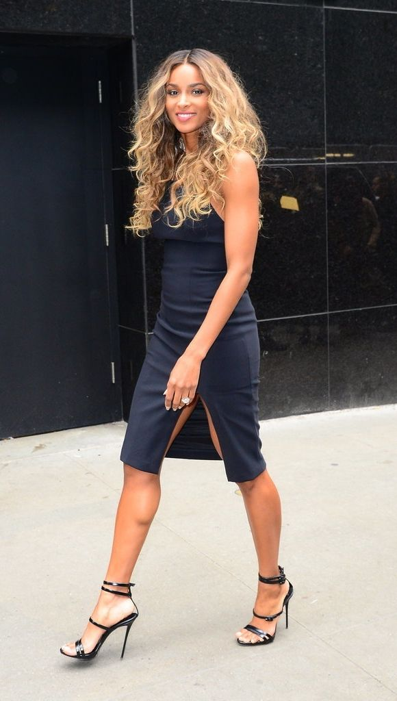 Ciara's navy dress might be simple but it's super sexy.