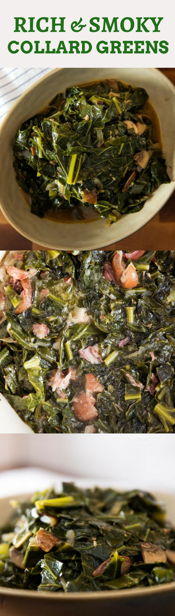 Two recipes we're sharing that are both delicious! The first is a pretty traditional pot of collards stewed with ham hocks, hewing closely to classic recipes. The second definitely is not. It's a vegan version that I created to capture those same smoky, meaty flavors, minus the meat—hopefully, its nontraditional approach won't inspire a peanut-sized reaction.