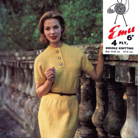 PDF Vintage 1950s Womens Dress Knitting Pattern Emu 2241