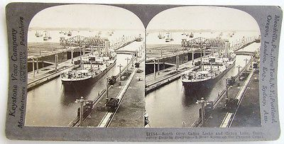 ANTIQUE STEREO PHOTO BUSY SCENE ON PANAMA CANAL GATUN LOCKS & LAKE SHIPS