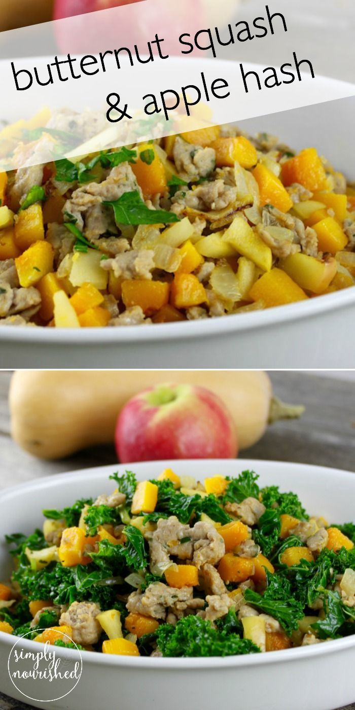 Butternut Squash & Apple Hash with Sausage || a recipe for you to enjoy for breakfast, lunch or dinner!  http://simplynourishedrecipes.com/butternut-squash-and-apple-hash-with-sausage/ #paleo #grainfr