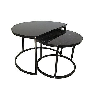 Tables Basses Gigognes Maoni Noir Imitation Marbre But Salon Design Meuble Table Meuble Canape Table Basse Noire