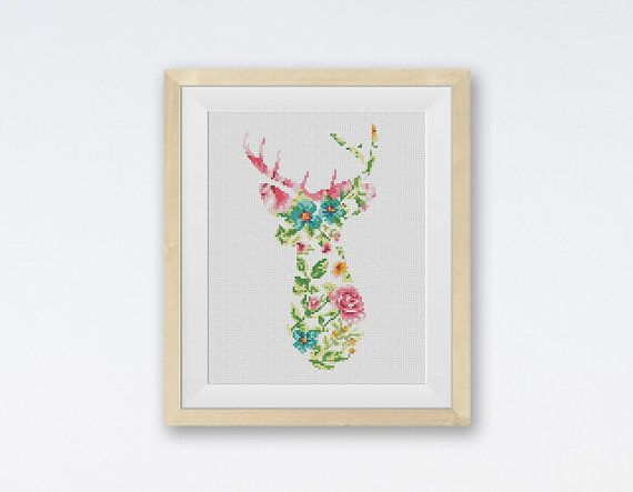 BOGO FREE! Wild Deer Cross Stitch Pattern, Deer Flowers Counted Cross Stitch, Animals Modern Home Wall Decor, PDF Instant Download #025-02-3