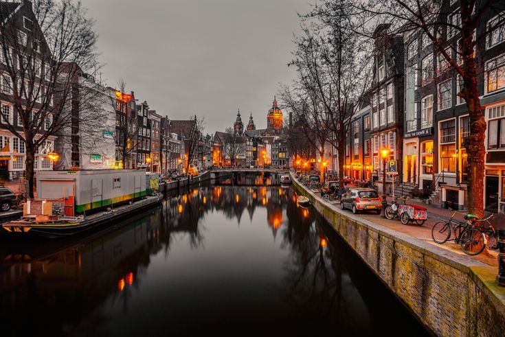 Man Made Amsterdam  City Canal House Dusk Wallpaper
