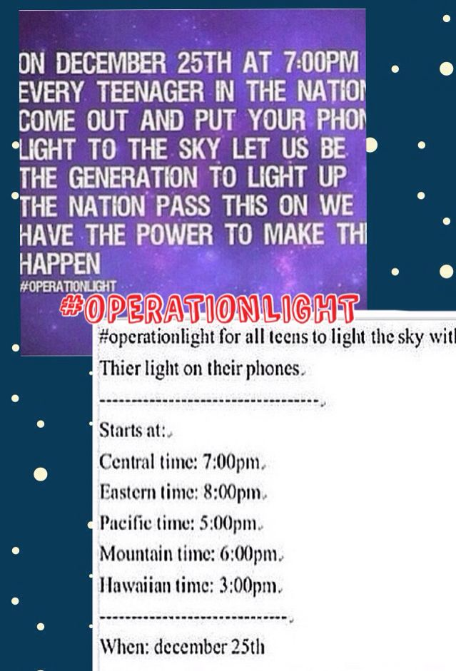 On December 25th every teenager in the nation will light up the skies with the light from their phones! (Times listed!) PLEASE REPIN THIS NEEDS TO HAPPEN