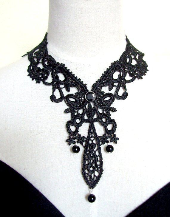 SALE  venise victorian lace bib necklace choker gorgeous large black vintage gothic oversized  medieval gothic art deco