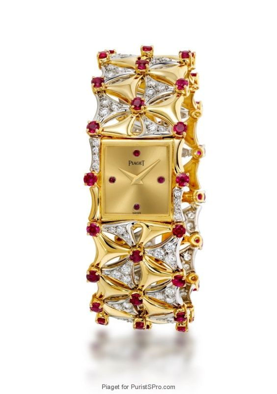 Piaget- Jewelery watch in yellow and white gold with rubies and diamonds (caliber 4P).